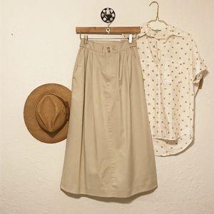 Vintage khaki midi skirt